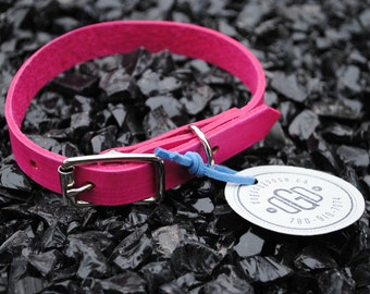 The Underhill Collar: Pink Leather Dog Collar