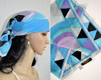 Emilio PUCCI Designer Scarf, Vintage Women's Neckwear, Boho 1970s Womens Accessories, Pucci Printed Wrap,