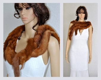 50%OFF Real Fur Mink Stole, Fur Collar, Flapper Shawl, Old Hollywood, 1930s Cape, Demi Buff Wrap, Marten Shrug, Wedding Cover up Final sale