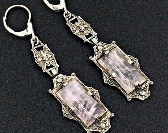 Vintage Rose Quartz Marcasite Earrings, Art Deco Drop Earrings, Marcasite, Silver Rose Quartz Earrings