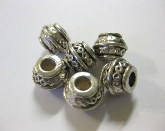 25pcs Antique Silver Barrel Spacer Beads, 9mm x 7mm DIY Jewelry Making Supplies and Findings
