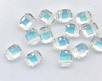 Twelve rare vintage Swarovski beads - art 366/5105 - 8 x 6.5 mm - crystal AB