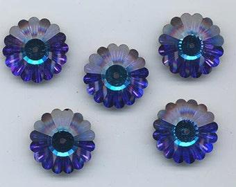 Four vintage Swarovski crystal beads: Art. 3701 - 18 mm - heliotrope II