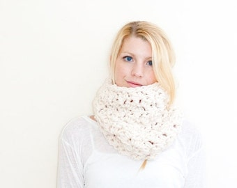 SUMMER SALE the Chunky Cowl Neckwarmer  Scarf - fisherman - Wool Blend - the MORGAN