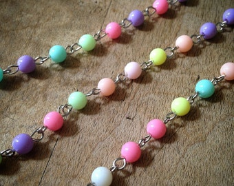 100cm Multi Color Pastel Bead Necklace Chain 6mm Bead Silver Chain Jewelry Making Supplies (EC161)