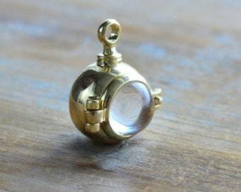Magnifying locket etsy 1 magnifying capsule locket pendant glass bubble gold hinged locket keepsake locket shadow box vintage aloadofball Image collections