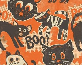 Out of Print - Blend Fabrics - Spooktacular - Scaredy  - Orange - Choose Your Cut 1/2 or Full Yard