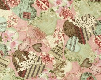 Robert Kaufman - Vintage Cupid - Vintage Valentines - Pink - Novelty Fabric-Choose Your Cut 1/2 or Full Yard