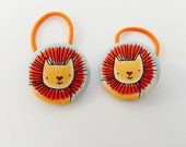 Lion fabric covered button hair bobbles for ponytails or pigtails