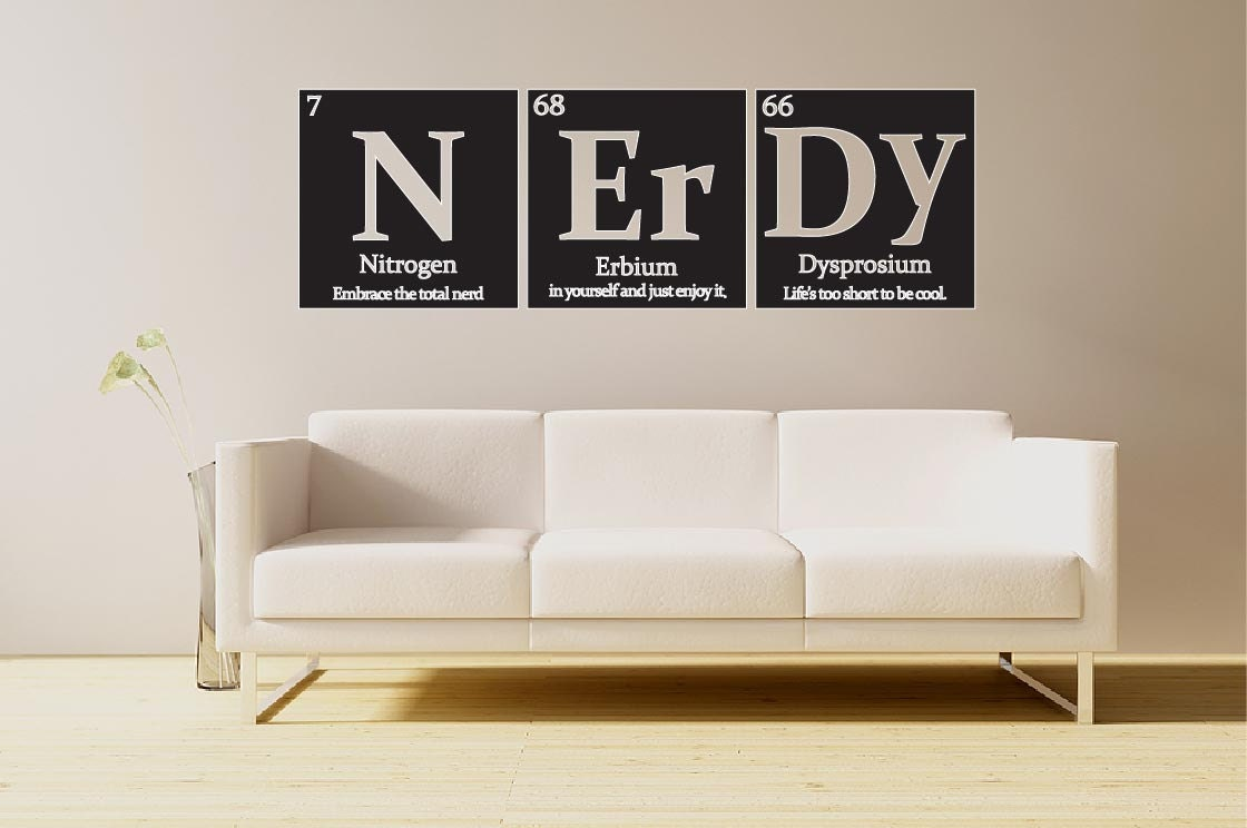 Periodic table of elements nerdy vinyl wall decal with quote zoom gamestrikefo Gallery