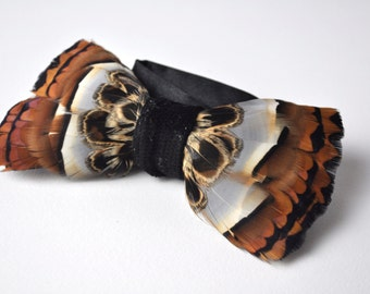 Feather Bow Tie Mixed Natural British Game Birds