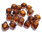 SUPPLY: 18 Rustic Trade Glass Beads - Distressed Amber Beads - Large Hole Beads - Macramé Beads - (11-B2-00003615) OS-no