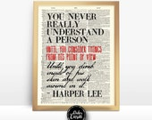 Harper Lee To Kill a Mockingbird Quote Print on Antique Unframed Upcycled Bookpage