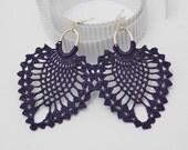 Crochet earrings, large crochet earrings, crochet earring jewelry, dark violet, textile jewelry