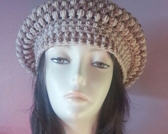 Crocheted Beret Hat - Boho Hat - Winter Hat - Beret - Slouchy Beret - FREE UK DELIVERY