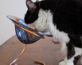 Cat food bowl, hand made, fused glass, dish, pet food dish