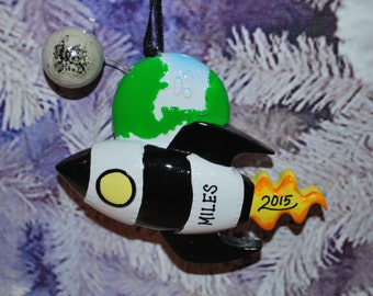 Personalized Rocket Ship Ornament