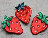 Strawberry Brooch in Friendly Plastic