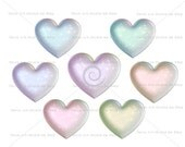 Diamond Dust Hearts, value set 7 colors, digital graphic instant download clipart scrapbooking crafts sparkly galaxy pearl glitter