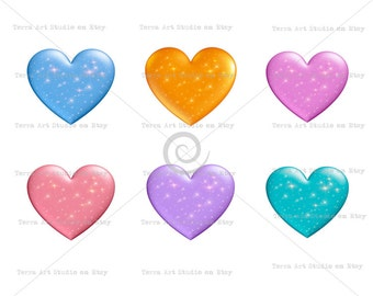 Starry Hearts, value set of 6 colors, digital graphic, instant download, colorful clip art for scrapbooking and crafts, galaxy sparky hearts