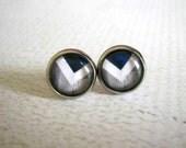 Blue Grey Chevron Stud Earrings : Glass Jewelry