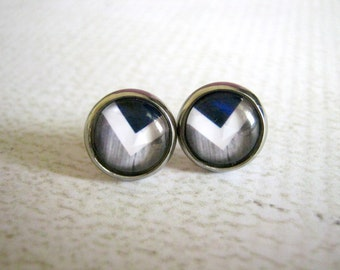 Blue Grey Chevron Stud Earrings : Glass Jewelry