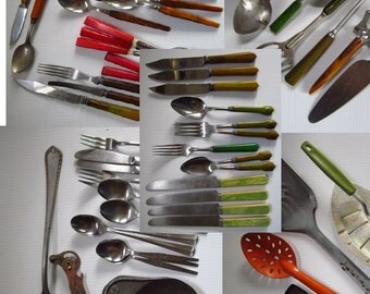 Huge Vintage Utensil Lot Auction Clean Out Bakelite Stainless & More