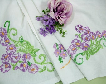 Embroidered Tablecloth, Breakfast Cloth, 39 x 32, Purple Violets, Table Linens, Cottage Chic Home Decor, Vintage Linens by TheSweetBasil