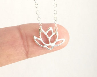 Lotus Flower Necklace, Sterling Silver Lotus Charm Necklace, Birthday Gift, Gift For Mom, Everyday Necklace,Water Lily Flower Necklace