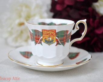 Elizabethan New Brunswick Tartan Teacup Set, English Bone China Tea Cup Set, Replacement China, Tea Party Set, ca. 1961
