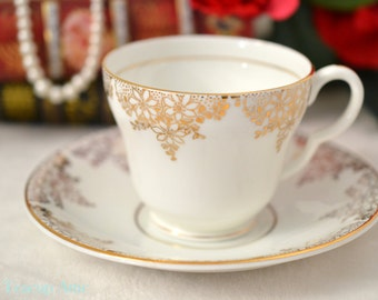 Stanley White And Gold Teacup And Saucer Set,  English Bone China Tea Cup Set, ca. 1953-1962