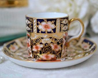 ON SALE Royal Crown Derby Mint Condition Imari Demitasse Teacup Set, English Bone China Demitasse Tea Cup Set 2451, ca. 1891-1921