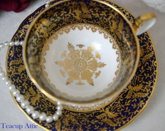 ON SALE Aynsley Cobalt Blue and Gold Teacup and Saucer Set, English Bone China Tea Cup, Replacement China, Garden Tea Party, ca. 1939