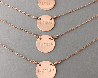HALF INCH Personalized Gold Fill DISC Engraved Necklace also in Rose Gold and Silver