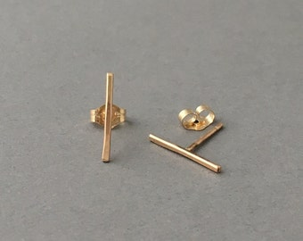 Straight Line Post Earrings Gold Fill, Rose Gold Fill, or Sterling Silver