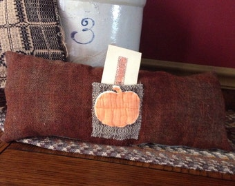 Fall Pumpkin Primitive Pillow Tuck~ Halloween~ vintage quilt~ primitive decor~ harvest~ thanksgiving~ coverlet~ hand