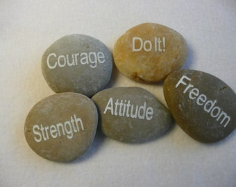 Hand Etched Inspirational River Rocks  Attitude Set of 5