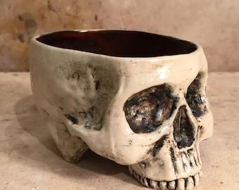Ceramic Skull Mug Rust and Bone