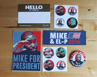 Killer Mike for President Campaign Pack - Stickers, Badge, Postcard and Bookmark