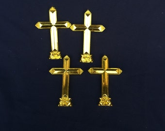 Set of 4 plastic Gold Crosses