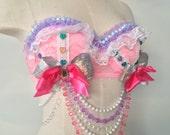 Pretty Pastels Custom bra top costume rave bra Dollz for days 34B