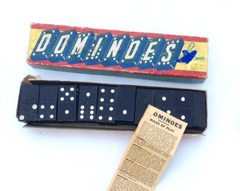 Vintage Dominoes Double Six Set by Halsam Instructions for Multiple Games Included 28 Black Tile Dominoes Set