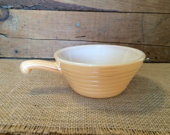 Vintage Fire King Peach Luster Soup Bowl with Handle   Fire King Oven Ware Made In USA