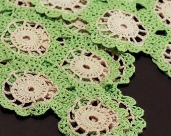 Ecru & Lime Green Crochet DOILIES // Set of Two //Diamond Shape // Vintage Linens