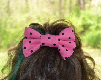 Pink and Black Polka Dot Bow