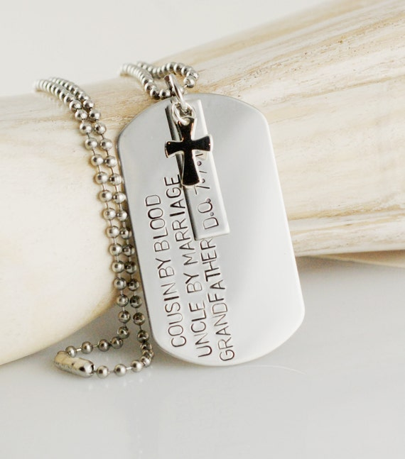 hand stamped mens necklace personalized dog tag by