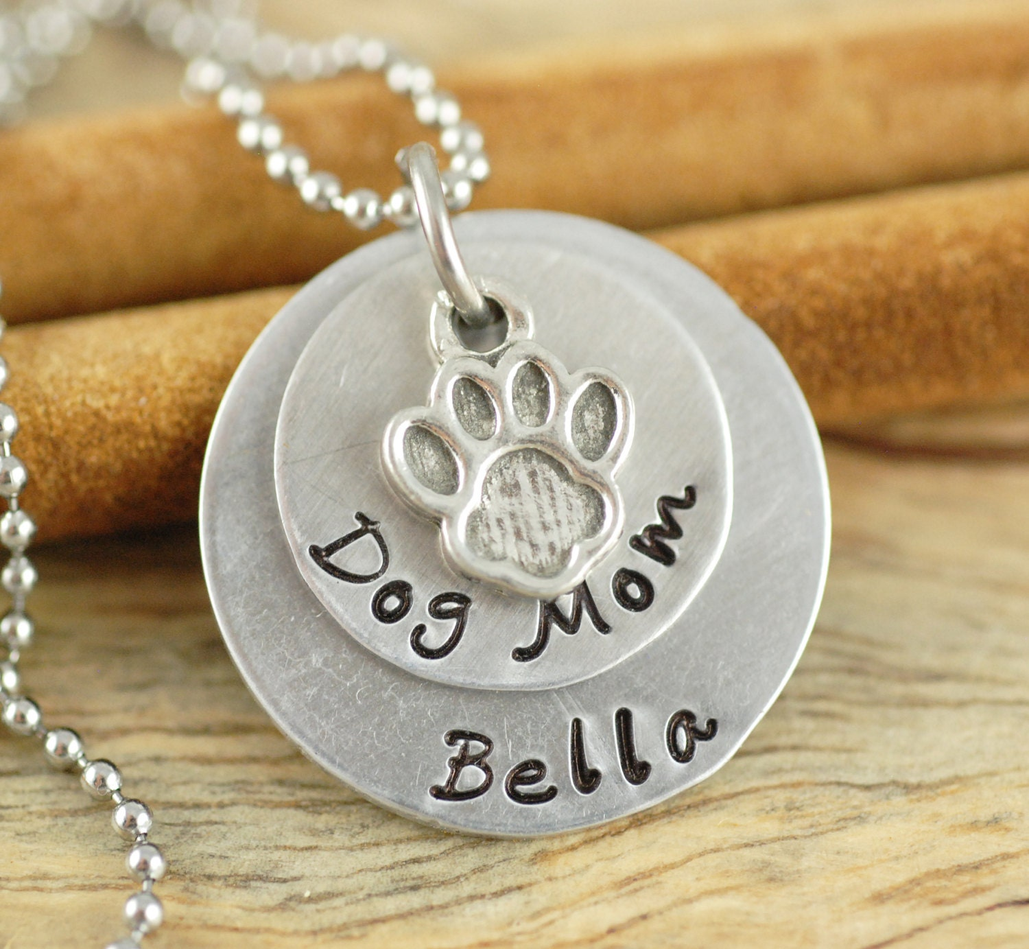 Personalized hand stamped necklace dog mom by luckyhorngifts for How do you make hand stamped jewelry