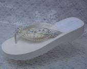 Brides Ivory Sandals beautifully adorned with venice lace and pearls, Platform Thongs, Wedding Flip Flops, Beach Wedding,Destination, Cruise
