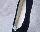 Black Wedding Shoes Dressy Flats Satin with brooch