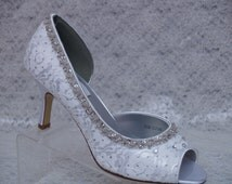 Diamond White Wedding Shoes Lace and Silver beading - Wedding  Mid heel Beautiful beaded silver trim, open toe lace pumps, Bling bride